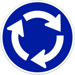 Traffic sign of Indonesia: Mandatory direction of the roundabout