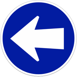 Traffic sign of Indonesia: Mandatory left