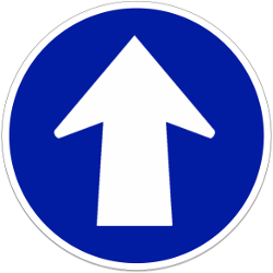 Traffic sign of Indonesia: Driving straight ahead mandatory