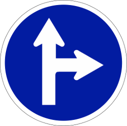 Traffic sign of Indonesia: Driving straight ahead or turning right mandatory