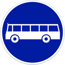Traffic sign of Indonesia: Mandatory lane for buses