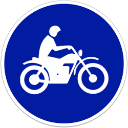 Traffic sign of Indonesia: Mandatory path for motorcycles