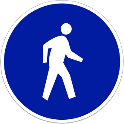 Traffic sign of Indonesia: Mandatory path for pedestrians
