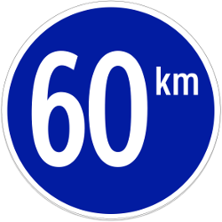 Traffic sign of Indonesia: Begin of a minimum speed