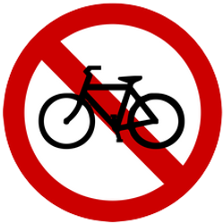Traffic sign of Indonesia: Cyclists prohibited