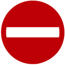 Traffic sign of Indonesia: Entry prohibited (road with one-way traffic)