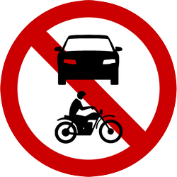 Traffic sign of Indonesia: Motorcycles and cars prohibited