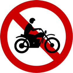 Traffic sign of Indonesia: Motorcycles prohibited