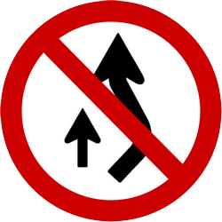 Traffic sign of Indonesia: Overtaking prohibited
