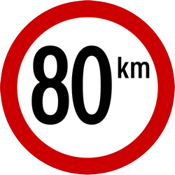Traffic sign of Indonesia: Driving faster than indicated prohibited (speed limit)