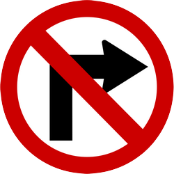 Traffic sign of Indonesia: Turning right prohibited