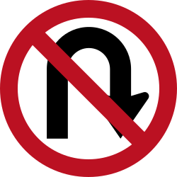 Traffic sign of Indonesia: <b>Turning</b> around prohibited (<a href='/en/indonesia/overview/u-turn'>U-turn</a>)