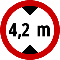 Traffic sign of Indonesia: Vehicles higher than indicated prohibited