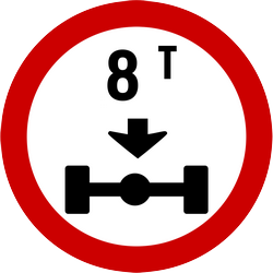 Traffic sign of Indonesia: Vehicles with an axle weight heavier than indicated prohibited