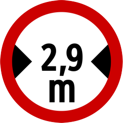 Traffic sign of Indonesia: Vehicles wider than indicated prohibited