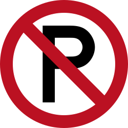 Traffic sign of Indonesia: Parking prohibited