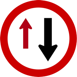 Traffic sign of Indonesia: Road narrowing, give way to oncoming drivers