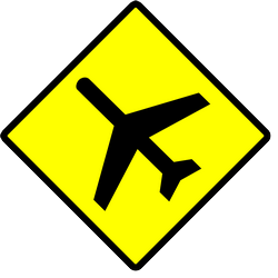 Traffic sign of Indonesia: Warning for low-flying aircrafts