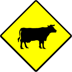 Traffic sign of Indonesia: Warning for cattle on the road