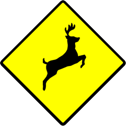 Traffic sign of Indonesia: Warning for crossing deer