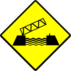 Traffic sign of Indonesia: Warning for a movable bridge