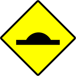 Traffic sign of Indonesia: Warning for a speed bump