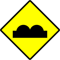 Traffic sign of Indonesia: Warning for a bad road surface