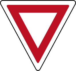 Traffic sign of Indonesia: Give way to all drivers