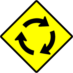 Traffic sign of Indonesia: Warning for a roundabout