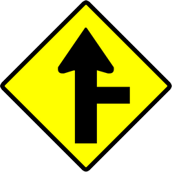 Traffic sign of Indonesia: Warning for side road on the right