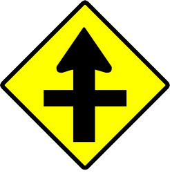 Traffic sign of Indonesia: Warning for a crossroad side roads on the left and right