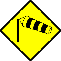 Traffic sign of Indonesia: Warning for heavy crosswind