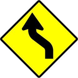 Traffic sign of Indonesia: Warning for a double curve, first left then right