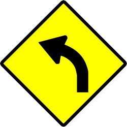 Traffic sign of Indonesia: Warning for a curve to the left