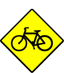 Traffic sign of Indonesia: Warning for cyclists