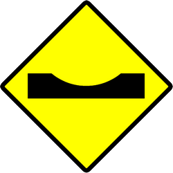 Traffic sign of Indonesia: Warning for a dip in the road