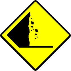 Traffic sign of Indonesia: Warning for falling rocks