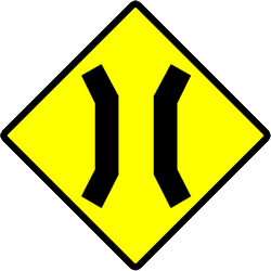 Traffic sign of Indonesia: Warning for a narrowing