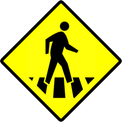 Traffic sign of Indonesia: Warning for a crossing for pedestrians