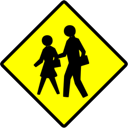 Traffic sign of Indonesia: Warning for pedestrians