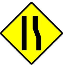 Traffic sign of Indonesia: Warning for a road narrowing on the right