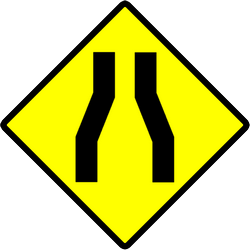 Traffic sign of Indonesia: Warning for a road narrowing