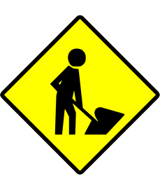 Traffic sign of Indonesia: Warning for roadworks