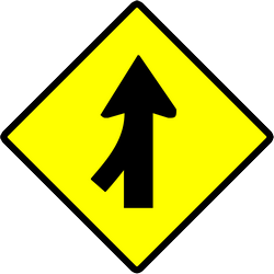 Panneau de signalisation de Indonésie: Warning for a side road merging with the main road
