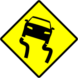 Traffic sign of Indonesia: Warning for a slippery road surface
