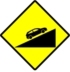 Traffic sign of Indonesia: Warning for a steep ascent