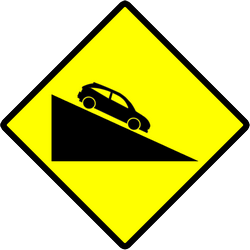Traffic sign of Indonesia: Warning for a steep descent