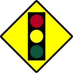 Traffic sign of Indonesia: Warning for a traffic light