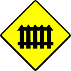 Traffic sign of Indonesia: Warning for a railroad crossing with barriers