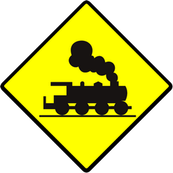 Traffic sign of Indonesia: Warning for a railroad crossing without barriers